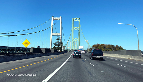 Driving on I5 across the Tacoma-Narrows Bridge in Washington State