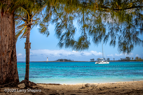 spectacular view of Nassau Harbour with palm trees and the lighthouse
