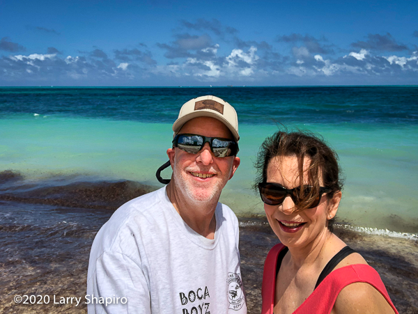 Dorothy & Larry Shapiro on the beach in Nassau