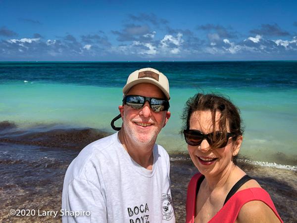 Dorothy & Larry Shapiro on the beach in Nassau