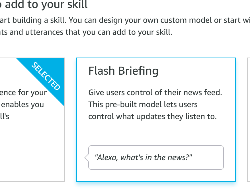 Flash Briefing skill option