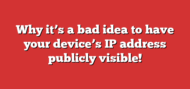 Why it's a bad idea to have your device's IP address publicly visible!