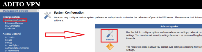 "Press the ""Server"" link under System Configuration"