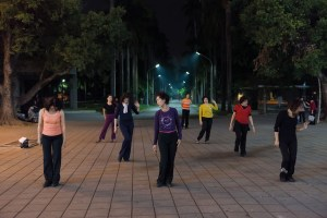 Street Photography, Asia, Taiwan, China, Photo Book, Lars Hübner, Fotograf, Nothing to Declare, Woman, Dancing, Park, Taitung, Night, Meditation, Chi Gong