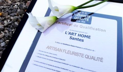 Certificat qualification - L'Art Home