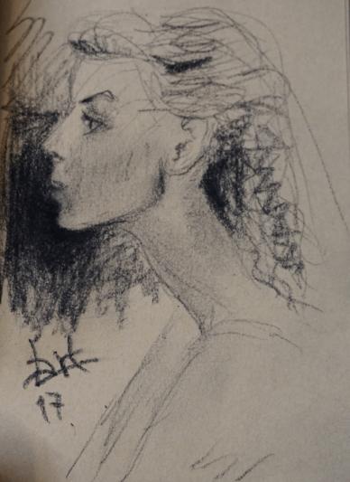 Manon profil dessin petit cahier