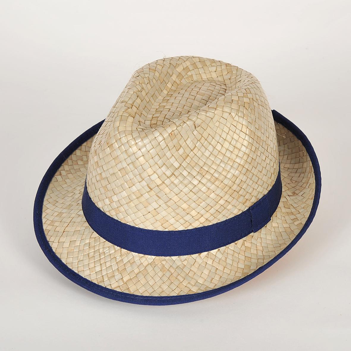 chapeau trilby Marco en paille boven garniture bleu abysse