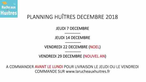 planning distribution huitres de la ruche aux huitres lille décembre 2017
