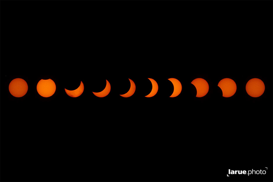 The 2017 Solar Eclipse at 10 different stages