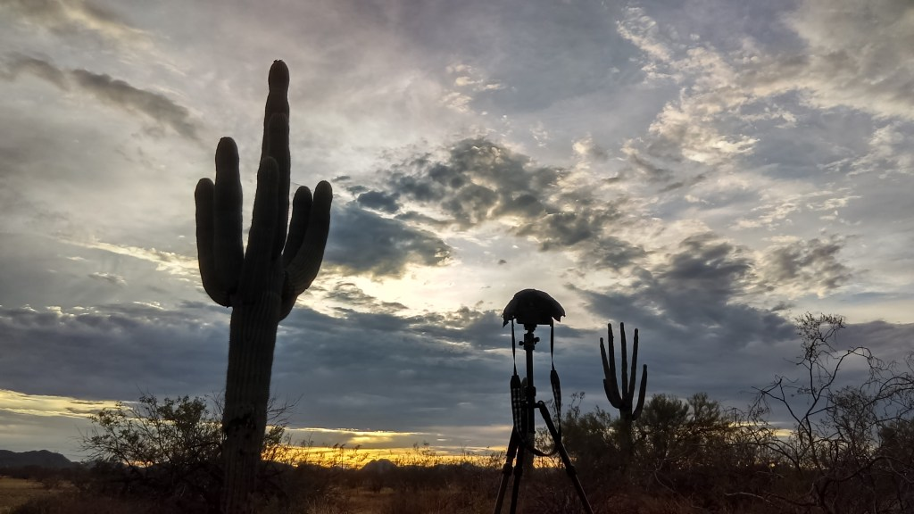 My camera and tripod capturing monsoon timelapse