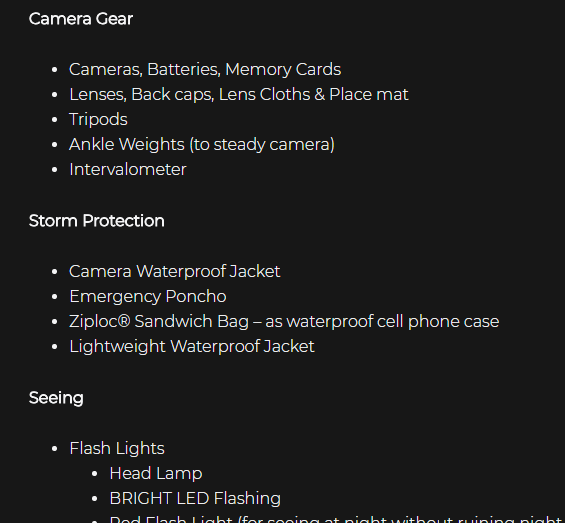 Packing list for Photo Hikes Thumbnail