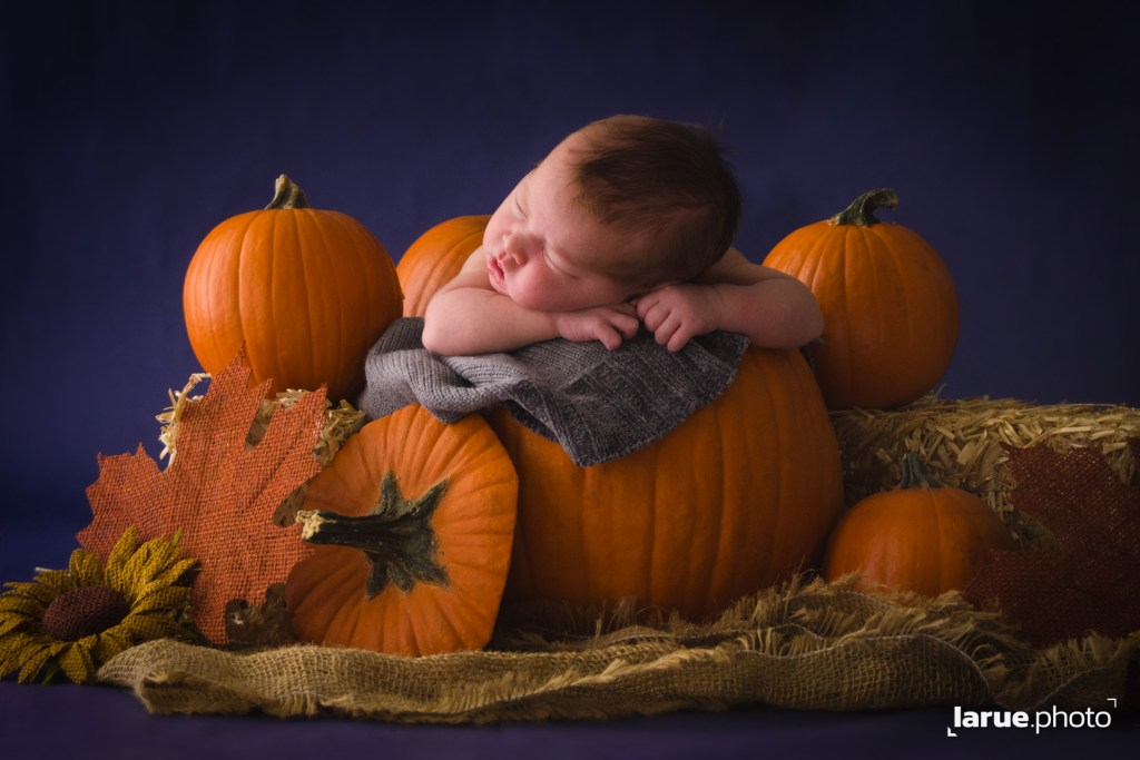 New Born baby sleeps soundly inside a pumpkin. Happy Father's Day!