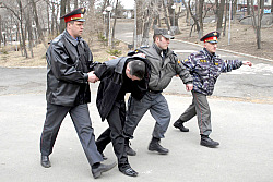 Russia police arresting a protester in Vladivostok last weekend.