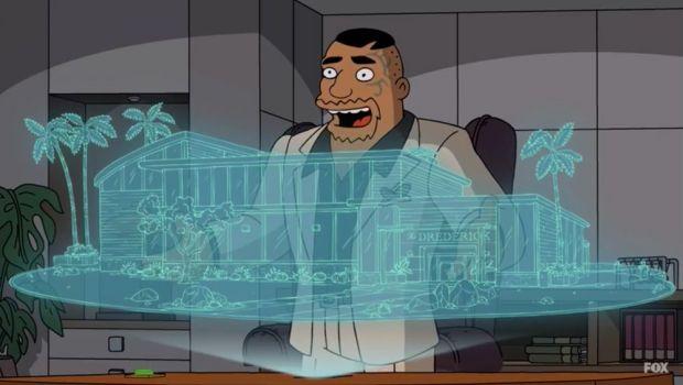 Mike Tyson presenta la maqueta de Tyson Ranch en Los Simpson (episodio 17 - temporada 31)