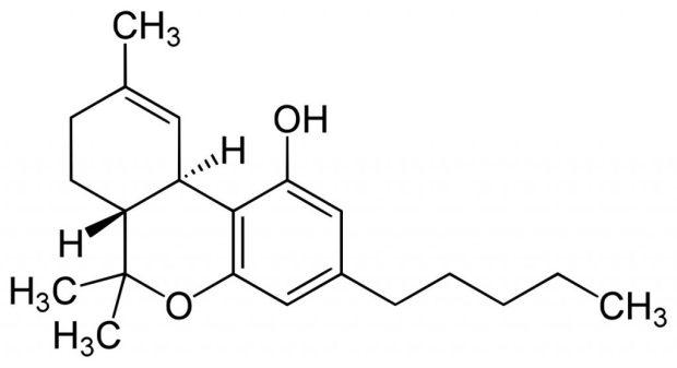 Estructura del Δ-9-Tetrahidrocannabinol, o THC