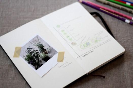 intérieur d'un carnet de jardinage