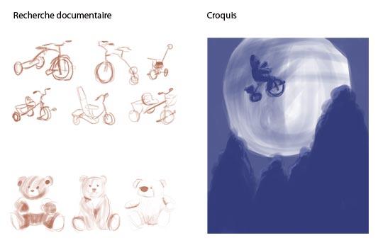 Préproduction pour la scène Nounours et son tricycle se prend pour E.T.