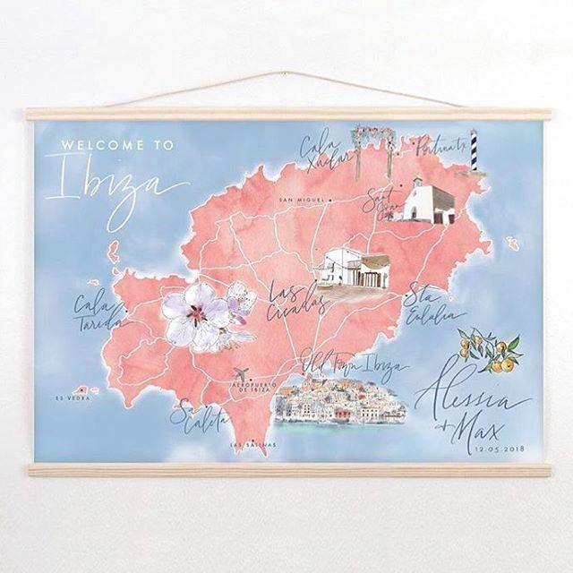 A beautiful customized map made by @redclaypaper for a beautiful wedding // Las Cicadas in the 💛 of the island 🏝#map #ibiza #eivissa #wedding #weddingvenue #boutiquevilla #heartoftheisland #lascicadasibiza #islandlife