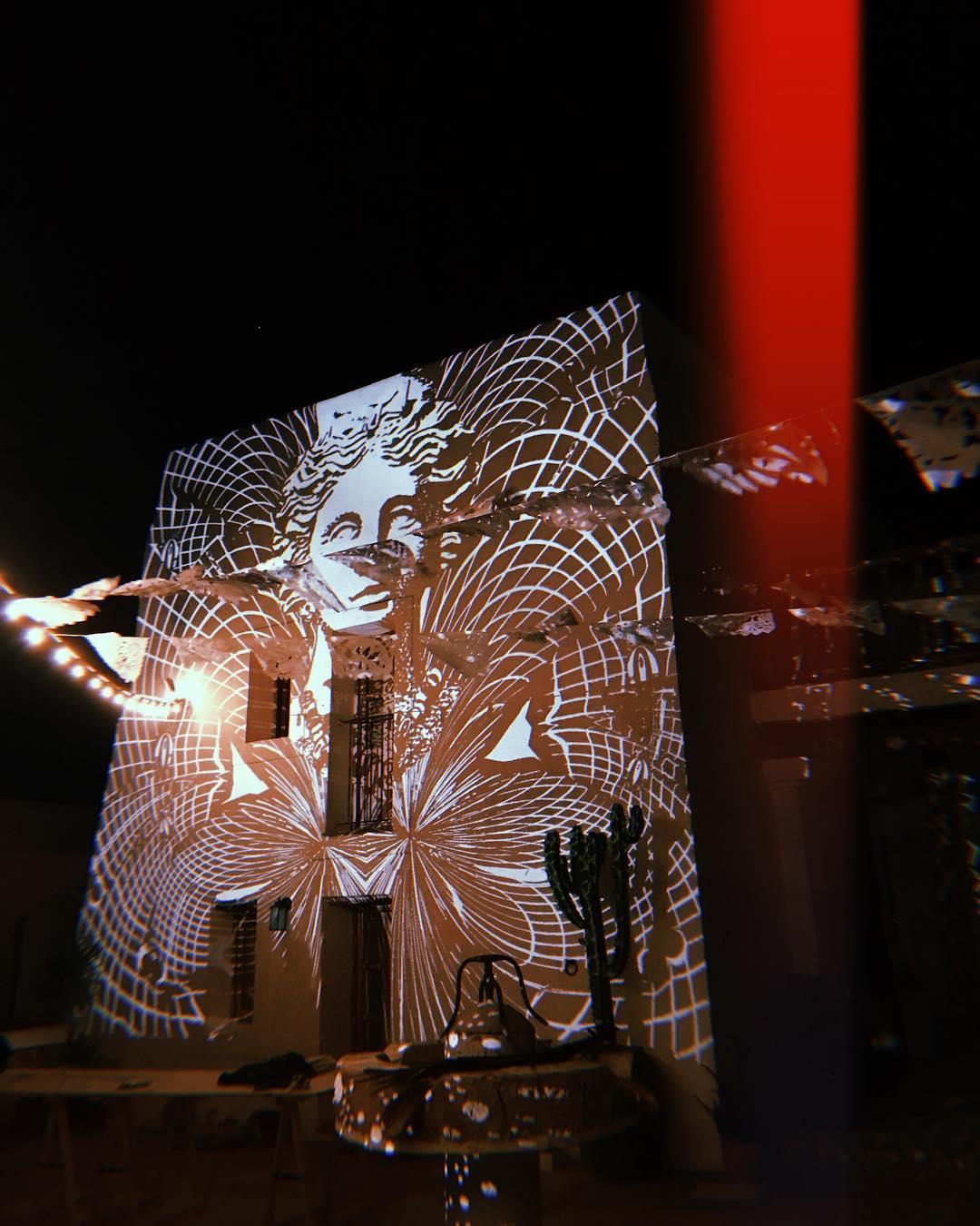 // Good Night // #lascicadasibiza #boutiquevilla #projection #art #bambooo #tanit #finca #ibiza #magic #nights