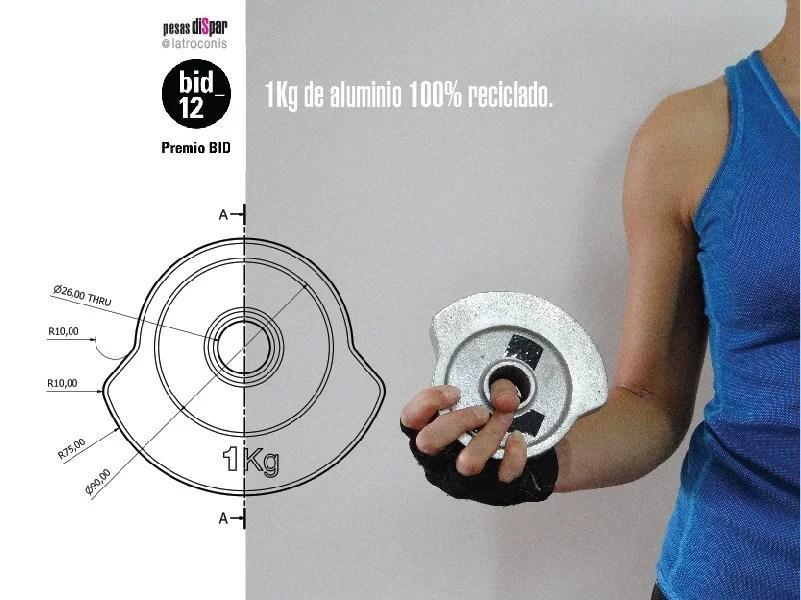 pesas de aluminio diseño responsable premio bid