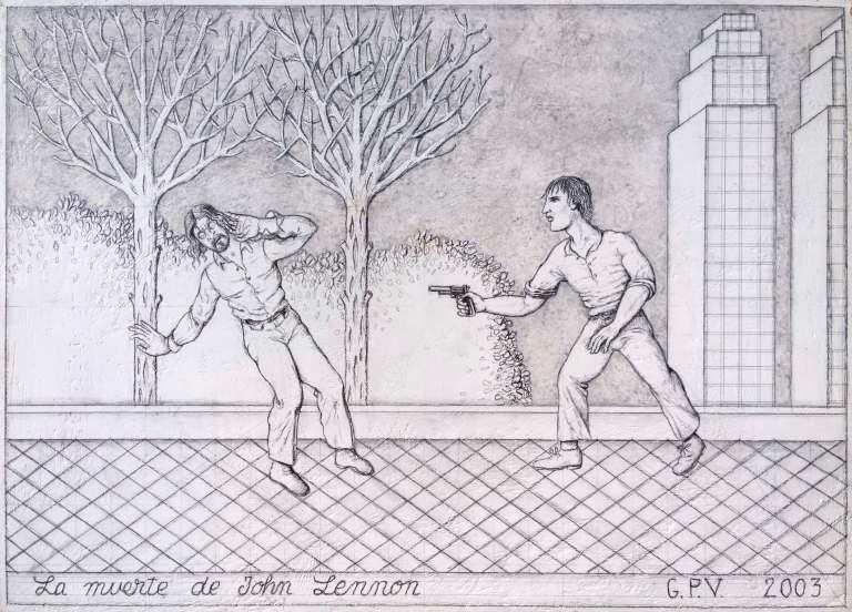 GUPE Muerte John Lennon (serie Grandes momentos de la historia de la música moderna), 2003. Grafito sobre tabla estucada. x 35,5 x 49,5 cm cm