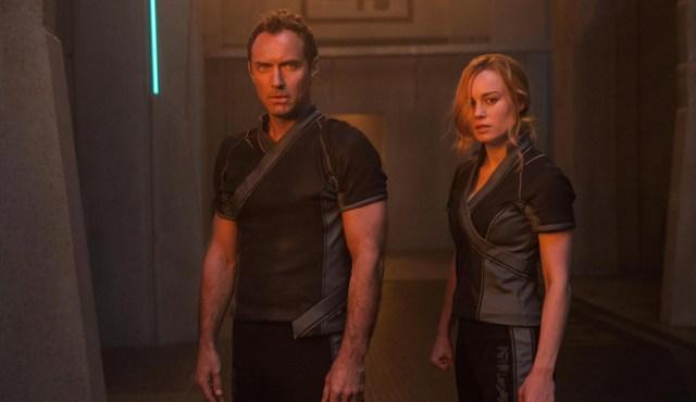 Capitana Marvel Brie Larson y Jude Law.