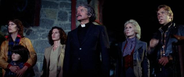 El reparto de La Niebla: Jamie Lee Curtis, Ty Mitchell, Nancy Loomis, Hal Holbrook, Janet Leigh, Tom Atkins