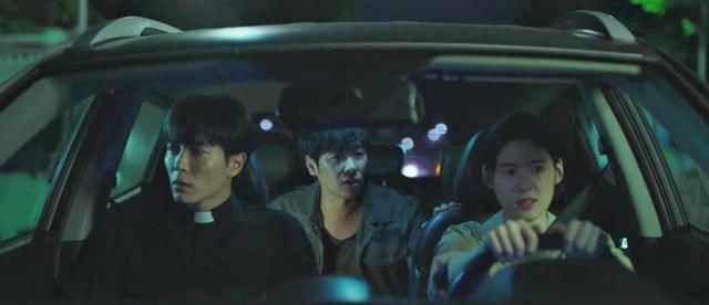 KDrama The Guest. Los protagonistas: Kim Jae-wook, Kim Dong-wook, Jung Eun-chae.