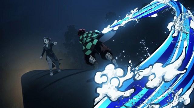 Tanjiro luchando y usando sus técnicas. Guardianes de la Noche: Tren infinito. Kimetsu no Yaiba: La película.