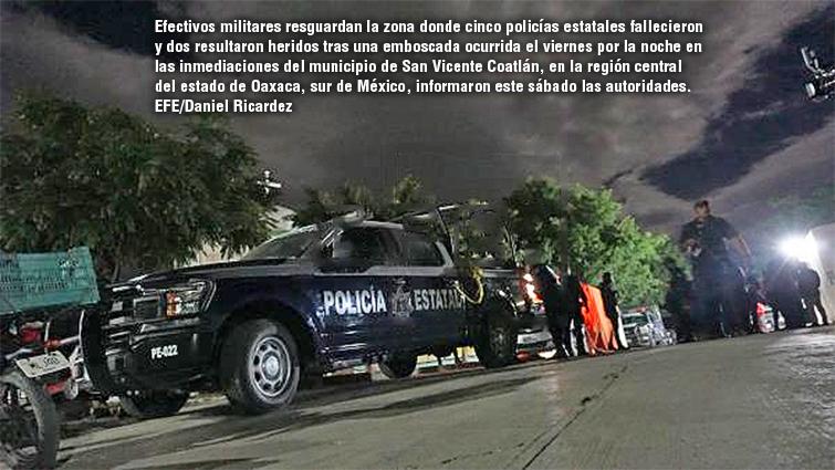 Mueren cinco policías en emboscada en el estado mexicano de Oaxaca