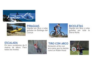 piraguas,tiro con arco, alquiler bicicletas, escalada