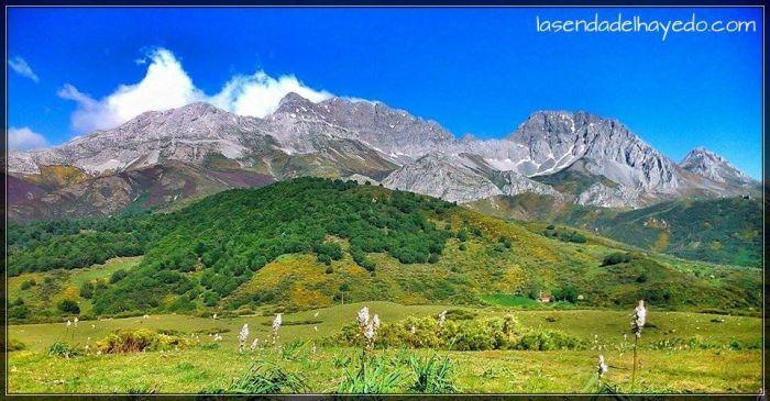 Macizo de Ubiña con el monte Valtarón en primer plano, el único gran fayéu -hayedo- en la vertiente leonesa de esta montaña.