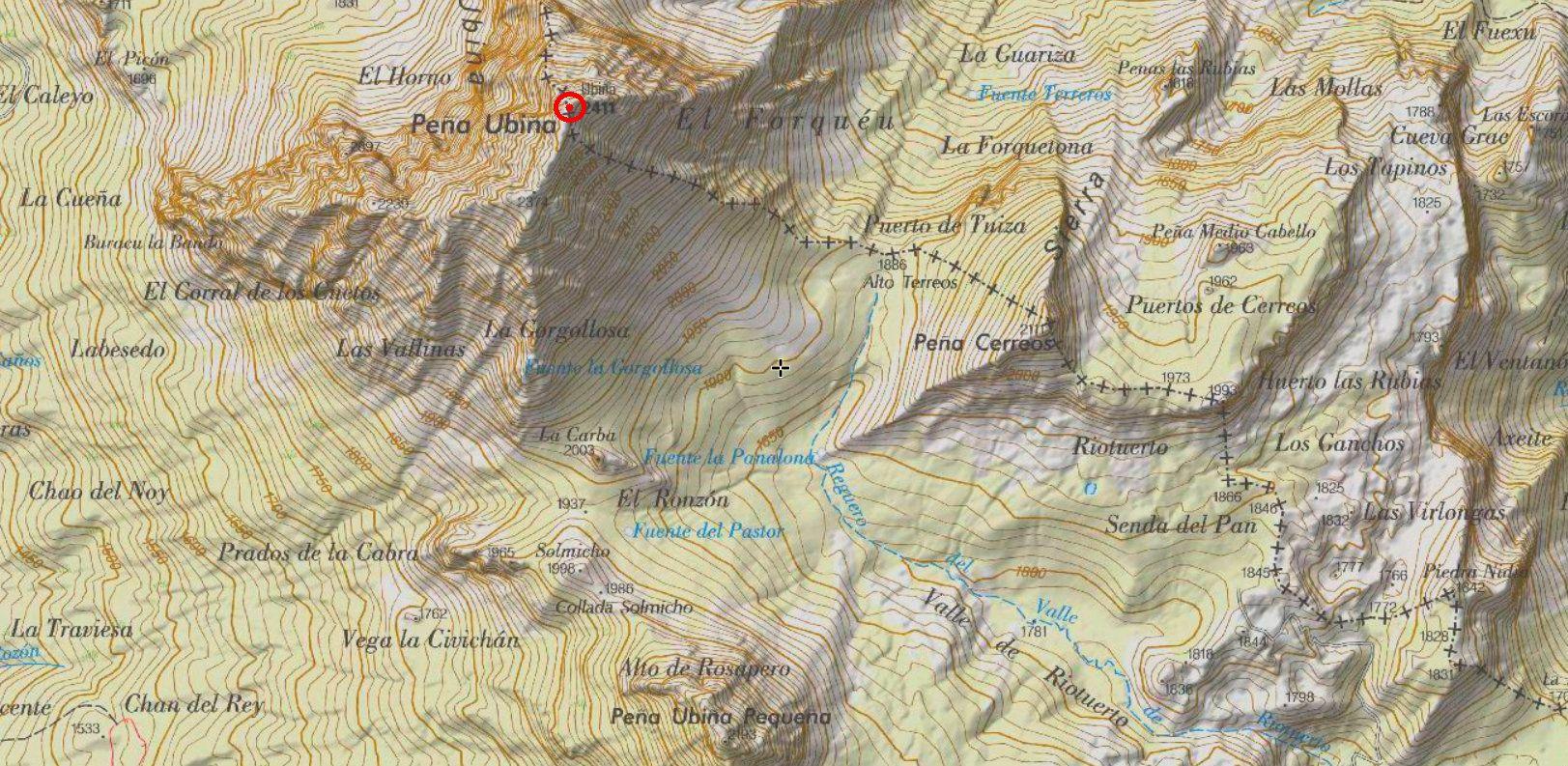 mapa ubiña