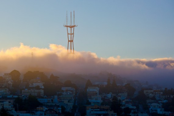 Sutro Tower foggy sunset