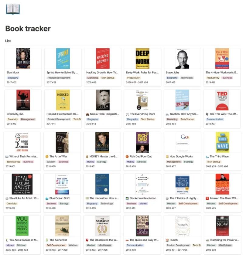 Notion 功能教學 books list