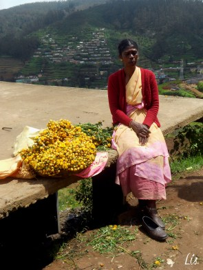 Indian women, flowers, Ooty India