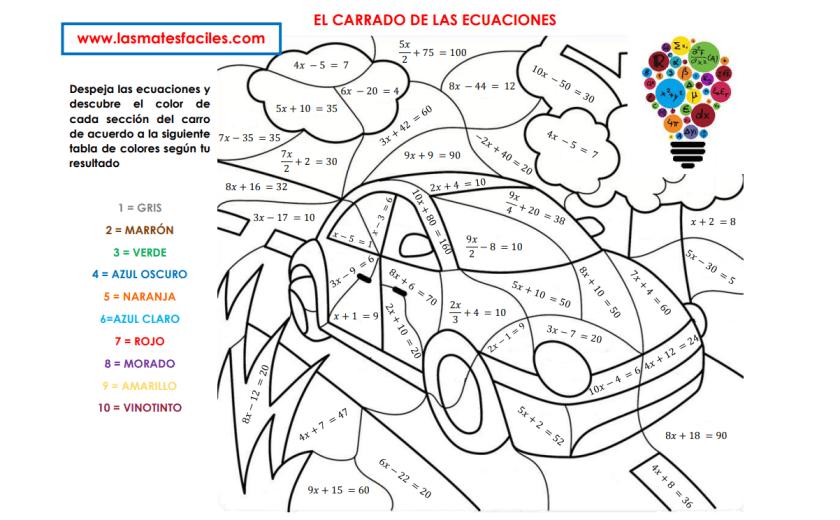 COLOREA EL CARRO DE LAS ECUACIONES
