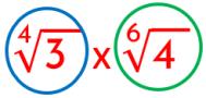 análisis del ejemplo de multiplicación de radicales con índice diferente