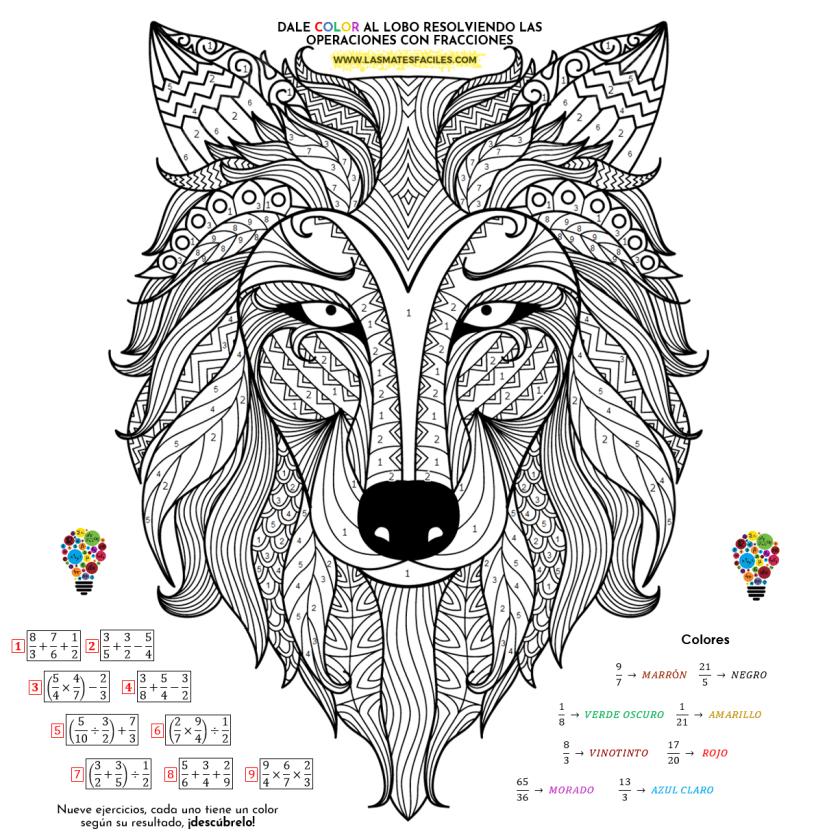 colorea el lobo de las fracciones