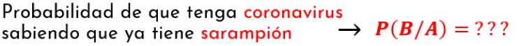 probabilidad de que ocurra B sabiendo que ya ocurrió A  probabilidad de que tenga coronavirus sabiendo que ya tiene sarampión
