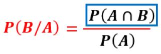 fórmula de la probabilidad de que ocurra B sabiendo que ya ocurrió A