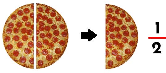 un medio de pizza