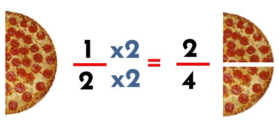 fracciones equivalentes un medio y dos cuartos