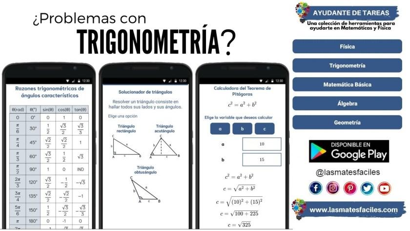 ayudante de tareas de trigonometría calculadoras de trigonometría