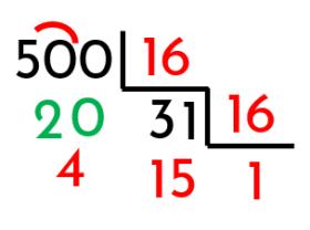 proceso para convertir un decimal a hexadecimal