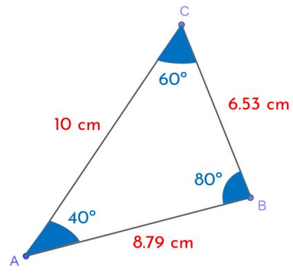 triángulo teorema del seno