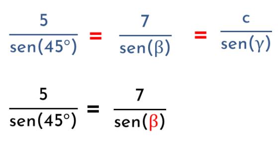 calcular el ángulo beta usando el teorema del seno