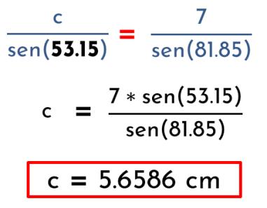 calcular el lado C utilizando ley del seno