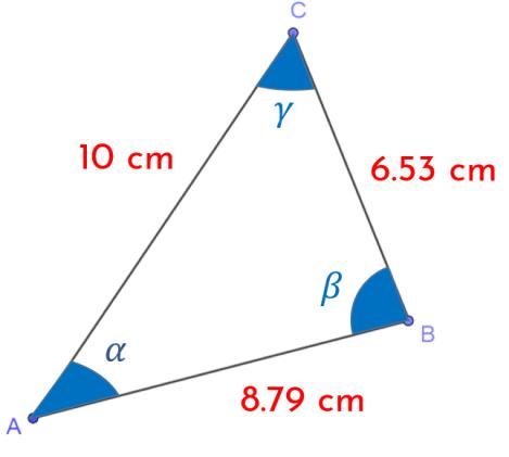 calcular los ángulos utilizando la ley del coseno