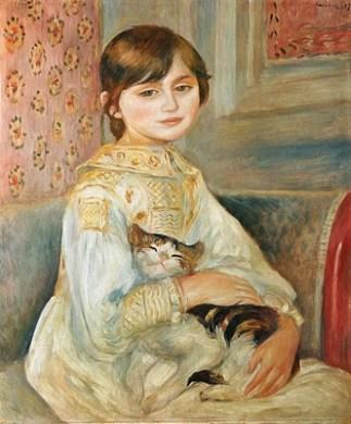 mademoiselle julie Manet con gato, RENOIR